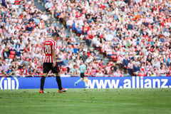 BILBAO, SPAIN - SEPTEMBER 18: Aritz Aduriz, Athletic Club Bilbao player, in the match between Athletic Bilbao and Valencia CF, cel Stock Images