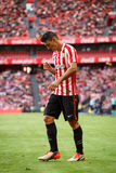 BILBAO, SPAIN - SEPTEMBER 18: Aritz Aduriz, Athletic Club Bilbao player, in the match between Athletic Bilbao and Valencia CF, cel Royalty Free Stock Image