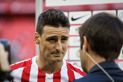 BILBAO, SPAIN - SEPTEMBER 18: Aritz Aduriz, Athletic Club Bilbao player, in a sports interview after the match between Athletic Bi Stock Photos