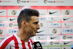 BILBAO, SPAIN - SEPTEMBER 18: Aritz Aduriz, Athletic Club Bilbao player, in a sports interview after the match between Athletic Bi Stock Photo