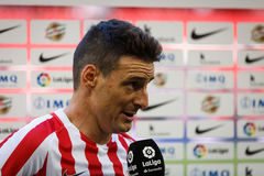 BILBAO, SPAIN - SEPTEMBER 18: Aritz Aduriz, Athletic Club Bilbao player, in a sports interview after the match between Athletic Bi Stock Photography