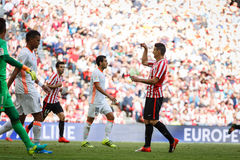 BILBAO, SPAIN - SEPTEMBER 18: Aritz Aduriz, Bilbao player, during the match between Athletic Bilbao and Valencia CF, celebrated on Royalty Free Stock Photo