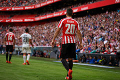 BILBAO, SPAIN - SEPTEMBER 18: Aritz Aduriz, Bilbao player, during the match between Athletic Bilbao and Valencia CF, celebrated on Stock Photography