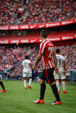 BILBAO, SPAIN - SEPTEMBER 18: Aritz Aduriz, Bilbao player, during the match between Athletic Bilbao and Valencia CF, celebrated on Royalty Free Stock Photography