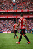 BILBAO, SPAIN - SEPTEMBER 18: Aritz Aduriz, Bilbao player, during the match between Athletic Bilbao and Valencia CF, celebrated on Royalty Free Stock Image