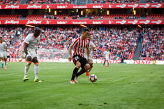 BILBAO, SPAIN - SEPTEMBER 18: Aritz Aduriz and Eliaquim Mangala, in the match between Athletic Bilbao and Valencia CF, celebrated Royalty Free Stock Photos