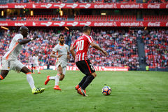BILBAO, SPAIN - SEPTEMBER 18: Aritz Aduriz and Eliaquim Mangala, in the match between Athletic Bilbao and Valencia CF, celebrated Stock Photo