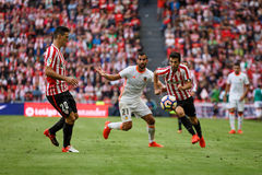 BILBAO, SPAIN - SEPTEMBER 18: Aritz Aduriz and Markel Susaeta, Athletic Bilbao players, in the match between Athletic Bilbao and V Royalty Free Stock Photos