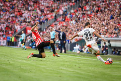 BILBAO, SPAIN - SEPTEMBER 18: Aritz Aduriz and Martin Montoya, in the match between Athletic Bilbao and Valencia CF, celebrated on Stock Images