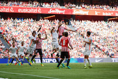 BILBAO, SPAIN - SEPTEMBER 18: Aritz Aduriz and Raul Garcia, Athletic Bilbao players, in the match between Athletic Bilbao and Vale Stock Photo