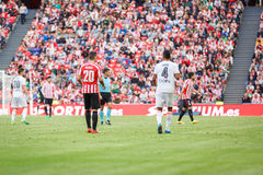 BILBAO, SPAIN - SEPTEMBER 18: Artiz Aduriz and Aderlan Santos, in action during a Spanish League match between Athletic Bilbao and Royalty Free Stock Photos