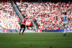 BILBAO, SPAIN - SEPTEMBER 18: Artiz Aduriz, Bilbao player, in action during a Spanish League match between Athletic Bilbao and Val Stock Image