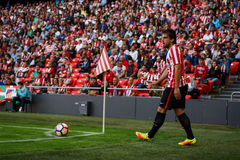 BILBAO, SPAIN - SEPTEMBER 18: Benat Etxebarria, Athletic Bilbao player, in the match between Athletic Bilbao and Valencia CF, cele Royalty Free Stock Photos