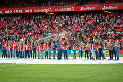 BILBAO, SPAIN - SEPTEMBER 18: Bilbao female team offers the league cup winner to the public before to the match Athletic Bilbao an Royalty Free Stock Images