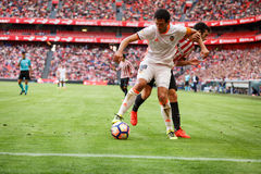BILBAO, SPAIN - SEPTEMBER 18: Dani Parejo, Valencia CF player, in the match between Athletic Bilbao and Valencia CF, celebrated on Stock Photos