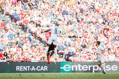 BILBAO, SPAIN - SEPTEMBER 18: Eliaquim Mangala and Aritz Aduriz, in the match between Athletic Bilbao and Valencia CF, celebrated Royalty Free Stock Photos