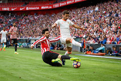 BILBAO, SPAIN - SEPTEMBER 18: Eneko Boveda and Jose Luis Gaya in the match between Athletic Bilbao and Valencia CF, celebrated on Stock Images