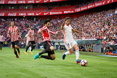 BILBAO, SPAIN - SEPTEMBER 18: Eneko Boveda and Jose Luis Gaya in the match between Athletic Bilbao and Valencia CF, celebrated on Royalty Free Stock Photography