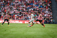 BILBAO, SPAIN - SEPTEMBER 18: Joao Cancelo and Markel Susaeta, in the match between Athletic Bilbao and Valencia CF, celebrated on Royalty Free Stock Image