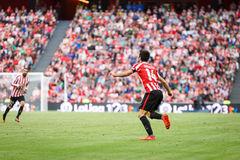 BILBAO, SPAIN - SEPTEMBER 18: Makerl Susaeta, Athletic Bilbao player, in the match between Athletic Bilbao and Valencia CF, celebr Royalty Free Stock Photo