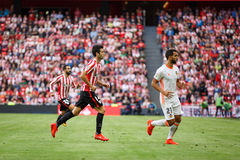 BILBAO, SPAIN - SEPTEMBER 18: Makerl Susaeta, Athletic Bilbao player, in the match between Athletic Bilbao and Valencia CF, celebr Stock Images