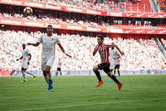 BILBAO, SPAIN - SEPTEMBER 18: Markel Susaeta and Aderlan Santos, in the match between Athletic Bilbao and Valencia CF, celebrated Royalty Free Stock Photo