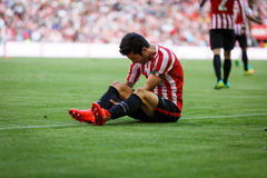BILBAO, SPAIN - SEPTEMBER 18: Markel Susaeta, Athletic Bilbao player, in the match between Athletic Bilbao and Valencia CF, celebr Stock Photo