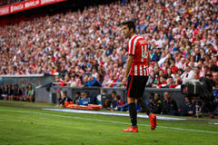 BILBAO, SPAIN - SEPTEMBER 18: Markel Susaeta, Athletic Bilbao player, in the match between Athletic Bilbao and Valencia CF, celebr Royalty Free Stock Photo