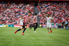 BILBAO, SPAIN - SEPTEMBER 18: Markel Susaeta, Athletic Club player, in the match between Athletic Bilbao and Valencia CF, celebrat Royalty Free Stock Photos