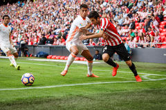 BILBAO, SPAIN - SEPTEMBER 18: Markel Susaeta and Joao Cancelo, in the match between Athletic Bilbao and Valencia CF, celebrated on Royalty Free Stock Image