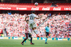 BILBAO, SPAIN - SEPTEMBER 18: Martin Montoya and Mikel San Jose, in the match between Athletic Bilbao and Valencia CF, celebrated Stock Images
