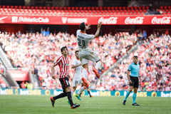 BILBAO, SPAIN - SEPTEMBER 18: Martin Montoya and Mikel San Jose, in the match between Athletic Bilbao and Valencia CF, celebrated Royalty Free Stock Images