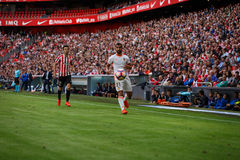 BILBAO, SPAIN - SEPTEMBER 18: Martin Montoya, Valencia CF player, and Markel Susaeta, Bilbao player, during the match between Athl Stock Photography