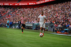 BILBAO, SPAIN - SEPTEMBER 18: Martin Montoya, Valencia CF player, and Markel Susaeta, Bilbao player, during the match between Athl Stock Images