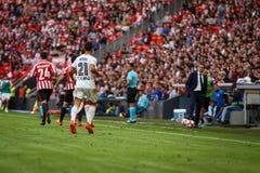BILBAO, SPAIN - SEPTEMBER 18: Martin Montoya, Valencia CF player, during the match between Athletic Bilbao and Valencia CF, celebr Royalty Free Stock Photos