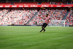 BILBAO, SPAIN - SEPTEMBER 18: Mikel Balenziaga, Athletic Bilbao player, in the match between Athletic Bilbao and Valencia CF, cele Royalty Free Stock Images