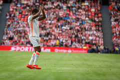 BILBAO, SPAIN - SEPTEMBER 18: Nani, Valencia CF player, in action during a Spanish League match between Athletic Bilbao and Valenc Stock Photography