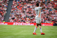 BILBAO, SPAIN - SEPTEMBER 18: Nani, Valencia CF player, in action during a Spanish League match between Athletic Bilbao and Valenc Stock Photos