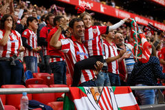 BILBAO, SPAIN - SEPTEMBER 18: Unidentified Bilbao fans, in action during a Spanish League match between Athletic Bilbao and Valenc Royalty Free Stock Photos
