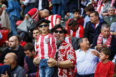 BILBAO, SPAIN - SEPTEMBER 18: Unidentified fans of Athletic during a Spanish League match between Athletic Bilbao and Valencia CF, Royalty Free Stock Photo