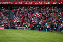 BILBAO, SPAIN - SEPTEMBER 18: Unidentified fans celebrate a goal of Bilbao, during a Spanish League match between Athletic Bilbao Stock Photography
