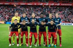 BILBAO SPANIEN - APRIL 20: Athletico de Madrid poserar för pressen i matchen mellan idrotts- Bilbao och Athletico de Madrid, ce Royaltyfria Bilder