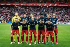 BILBAO SPANIEN - APRIL 20: Athletico de Madrid poserar för pressen i matchen mellan idrotts- Bilbao och Athletico de Madrid, ce Royaltyfri Bild