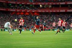 BILBAO SPANIEN - APRIL 20: Fernando Torres, Etxeita, Iraizoz och Oscar de Marcos i matchen mellan idrotts- Bilbao och Athletico Arkivfoto