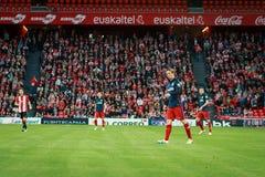 BILBAO SPANIEN - APRIL 20: Fernando Torres i matchen mellan idrotts- Bilbao och Athletico de Madrid som firas på April 20, 20 Royaltyfri Foto