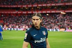 BILBAO SPANIEN - APRIL 20: Filipe Luis i matchen mellan idrotts- Bilbao och Athletico de Madrid som firas på April 20, 2016 I Royaltyfria Bilder