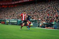 BILBAO SPANIEN - APRIL 20: Koke och Oscar de Marcos i matchen mellan idrotts- Bilbao och Athletico de Madrid som firas på April Fotografering för Bildbyråer
