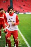 BILBAO SPANIEN - APRIL 20: Stefan Savic för matchen mellan idrotts- Bilbao och Athletico de Madrid som firas på April 20, 2 Fotografering för Bildbyråer