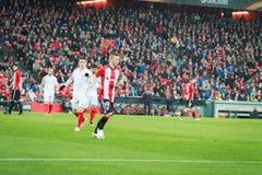 BILBAO SPANIEN - ARPIL 7: Iker Muniain i matchen mellan idrotts- Bilbao och Sevilla i UEFA-Europaligan som firas på Ap Arkivfoton
