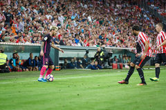 BILBAO, SPANIEN - 28. AUGUST: Leo Messi, FC- Barcelonaspieler, in der Aktion während eines spanischen Ligaspiels zwischen Athleti Stockfoto